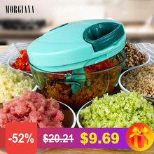 лучшая цена MORGIANA 850ml Manual Vegetable Choppers Shredder Chili Garlic Graters Meat Grinders Cutter Stainless Steel Blade Kitchen Gadget