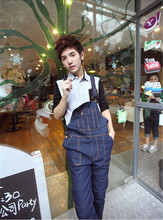 2015 Overalls Men Jumpsuits Denim Jumpsuit Overcoat Jeans Overall Men Pants Couples Paragraph Woman Can Wear