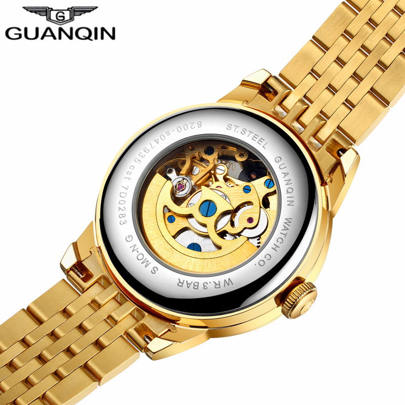 Top Brand GUANQIN Relojes de lujo para hombre Relojes mecánicos Gold - Relojes para hombres - foto 2