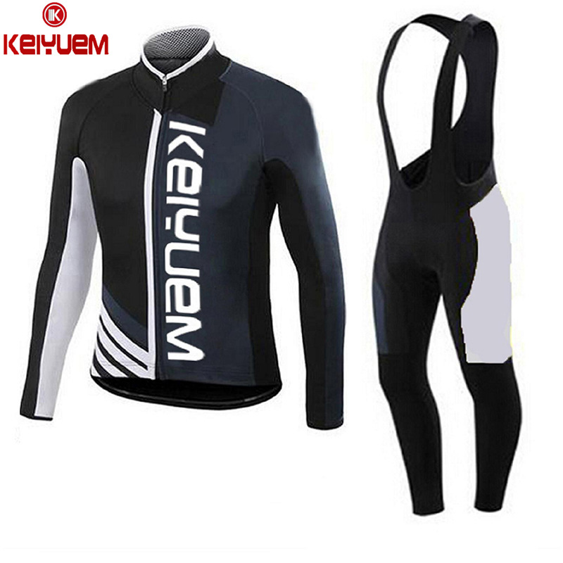 KEIYUEM K Long Sleeve Cycling Set Men Women Jersey and Bib Pants Ropa Ciclismo MTB Mountain Bike Bicycle Clothing with Gel Pad men thermal long sleeve cycling sets cycling jackets outdoor warm sport bicycle bike jersey clothes ropa ciclismo 4 size