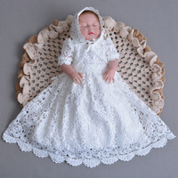2018 New Vintage Toddler Girls Christening Full Dress with Hat White Lace Baby Girl Birthday Baptism Dresses Princess costumes