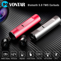 VONTAR S5 Bluetooth 5.0 TWS Waterproof Mini Wireless Ear buds Twins Earphone Headphones With Battery Case Hands Free Headsets