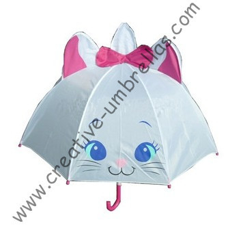 Children umbrella,kid animal cartoon umbrella-- white Marie cat,auto open.8mm metal shaft and fluted ribs,safe kid umbrellas