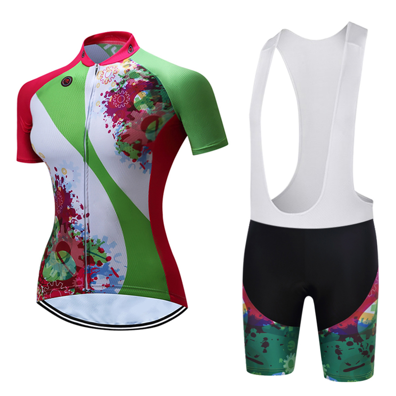 TELEYI Women's Short Sleeve Cycling Jerseys Set Breathable Mountain Bike Clothing Women printing Cycling Clothing