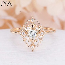 Купить с кэшбэком JYA Retro Women Rings Baroque Style Luxury Rose Golden Flower Shape Wedding Ring Statement Jewellery Vintage Diamante Accessory
