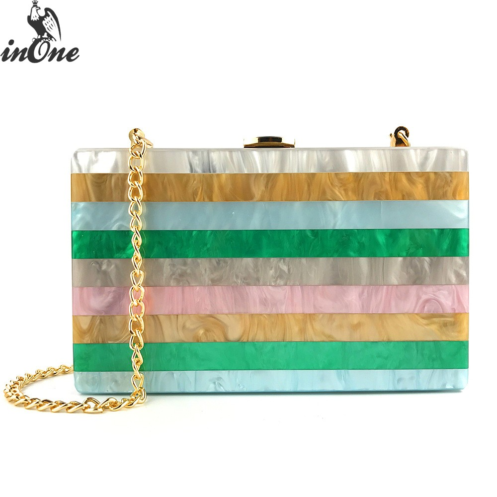 INONE Rainbow Colorful Striped Evening Purses Acrylic Clutches Box Shoulder Crossbody Bags for Women 2019 Handbag