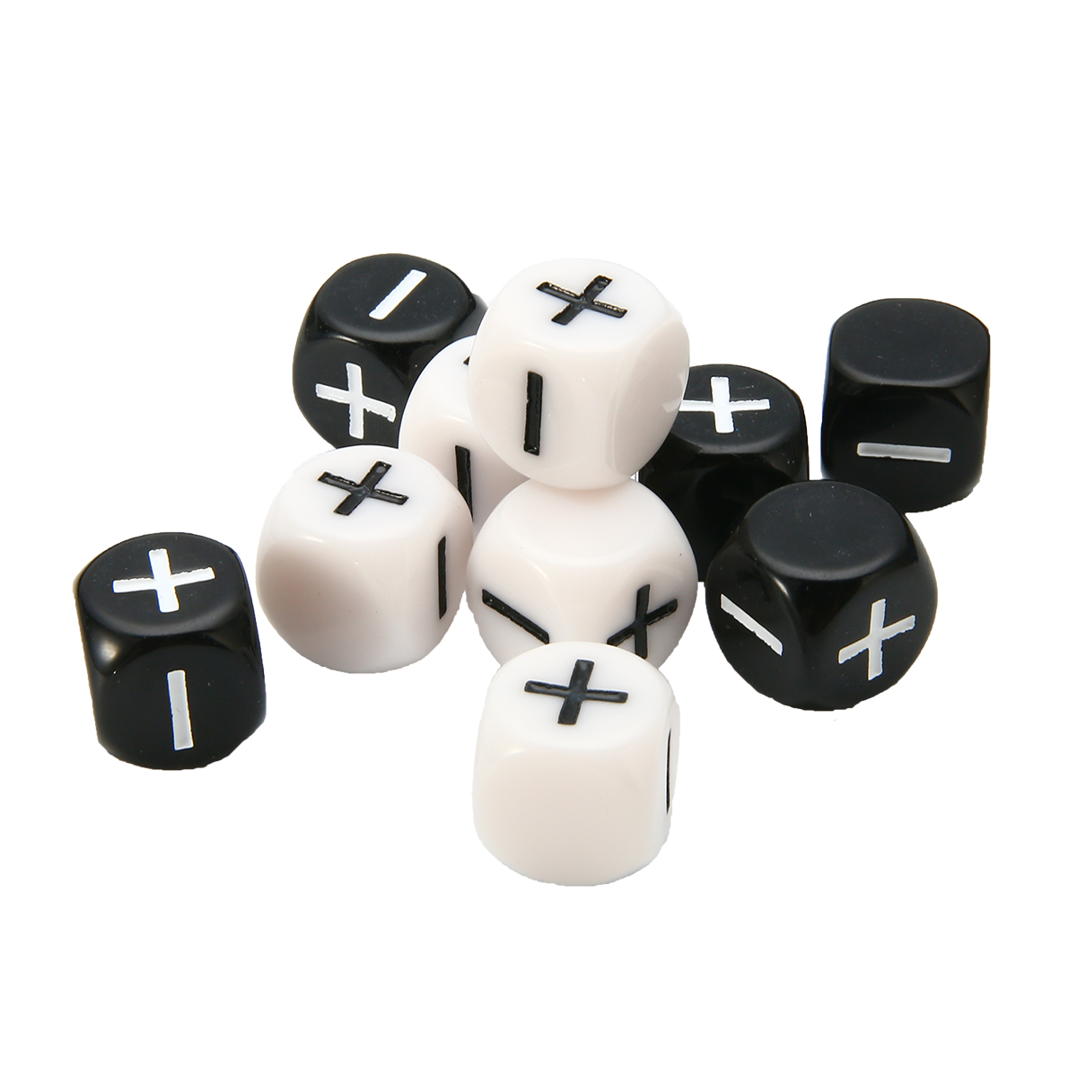 10Pcs Black + White 6-sided Dice Minus Plus 16mm For Party Bar School Outdoor Family Table Board Funny RPG Games Accessory