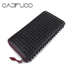CAJIFUCO Japan And Korean Style Money Clip Luxury Women Long Stud Wallet Genuine Leather Chic Standard Wallets Portemonnee