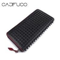 CAJIFUCO Japan Korean Style Women Wallet Money Clip Luxury Genuine Leather Wallet Clutch Male Female Long Wallet Coin Holder