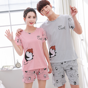 Image 2 - Plus Size 4XL Knited Cotton Pajama Sets Summer Print Pijama Couple Short Sleeve Mens Sleepwear O neck Female Pyjamas