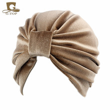 цены New Fashion women turban indian caps Celeb Style Neon Headband Vintage Double Stretch Velvet gurban Head wrap