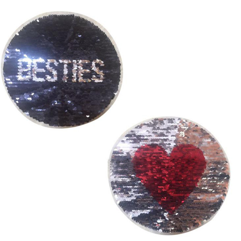 Patch diy clothes t shirt women red heart stickers Reversible change color sequins 21cm round deal with it patches for clothing