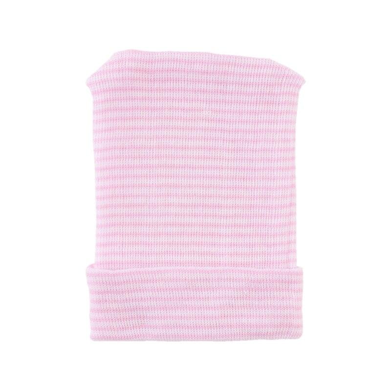 Newborn Baby Boys Girls Infant Soft Cotton Stripes Fetal Hospital Cap Beanie Hat