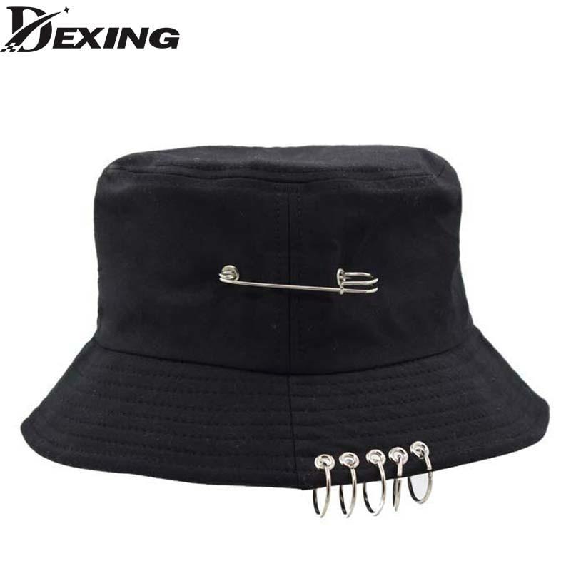 Wholesale Unisex cotton black Bucket Hat men clip hat Bob ring BTS Korea bucket Hats Panama Hip Hop cap women sadboy bucket hat