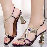 DAOKFPO 2018 New Rhinestone High Heels Sandals Shoes Women Round toe Woman Crystal Wedding Shoes 7 9cm heel big size NVB 45