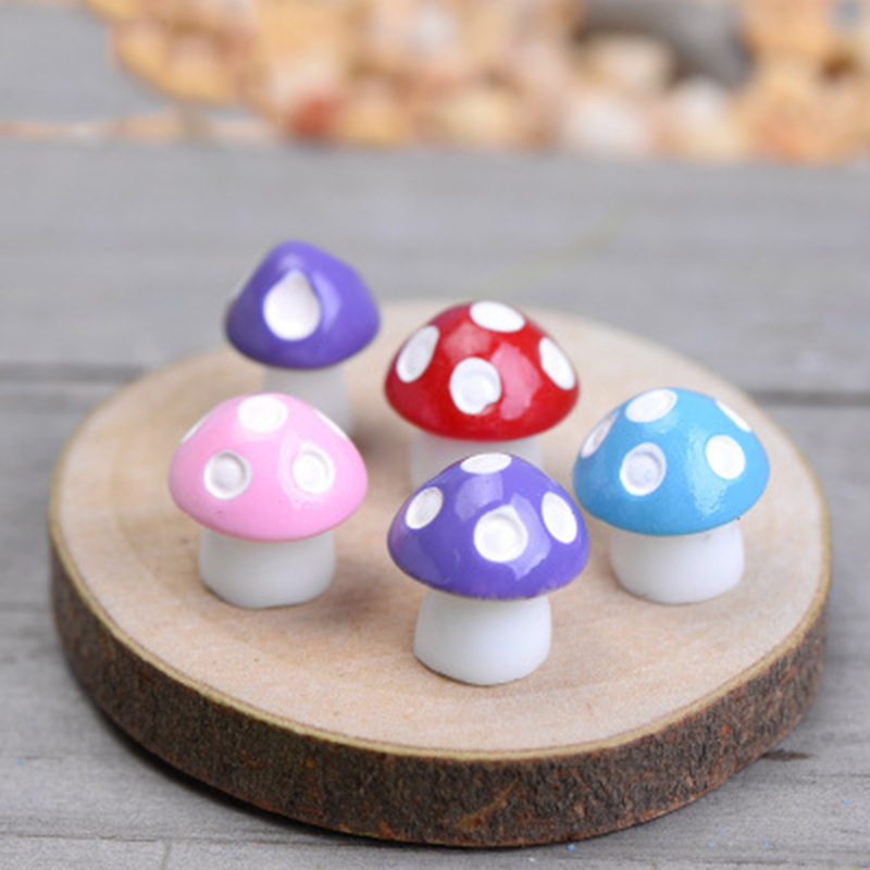 ZOCDOU 8 Pieces Resin Mushroom Moss Decor Colorful Swamm Garden Model Small Statue Figurine Ornament Bonsai Forest Flower Teemo