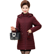 WAEOLSA Middle Aged Woman Winter Basic Coat Hooded Puffer Jackets Women Green Red Black Quilted Parkas Lady Hood Puff Overcoats