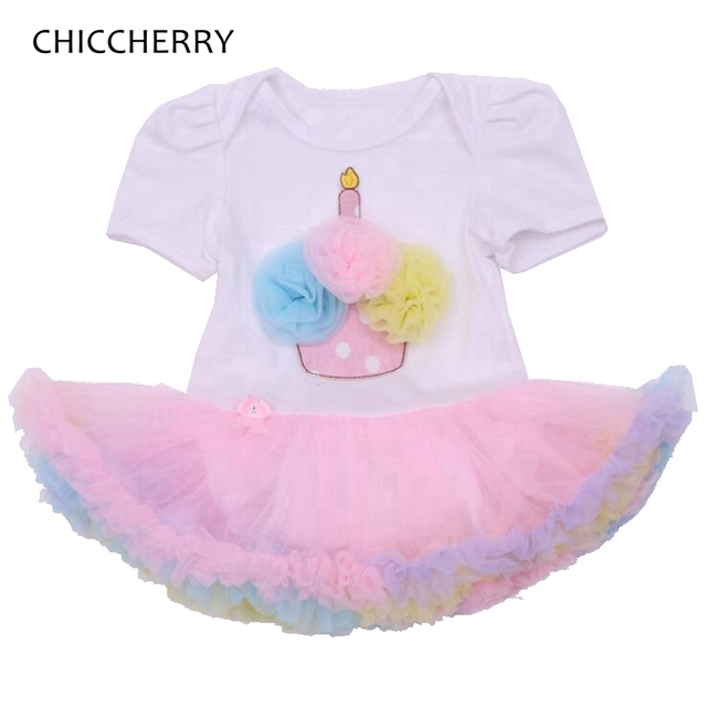 Lace Ruffle Cupcake Applique Toddler Birthday Outfits Lace Romper Baby Girl Dress Girls Dresses Summer 2016 Infant Clothing