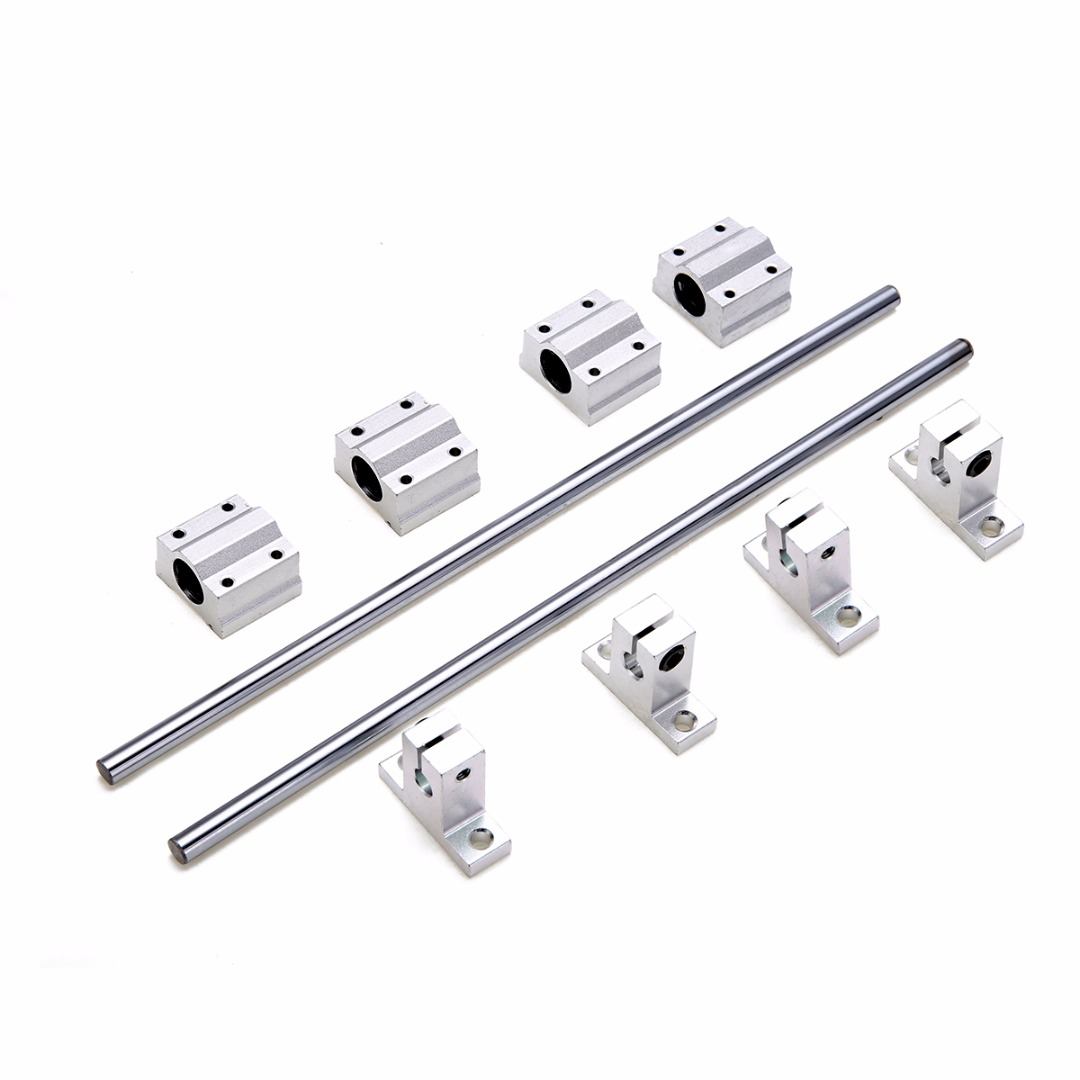 2pcs Chrome Linear Rail Shaft 300x8mm With SK8 SCS8UU Guide Support Bearing Block Slip Motor For DIY CNC Routers Mills Lathes2pcs Chrome Linear Rail Shaft 300x8mm With SK8 SCS8UU Guide Support Bearing Block Slip Motor For DIY CNC Routers Mills Lathes