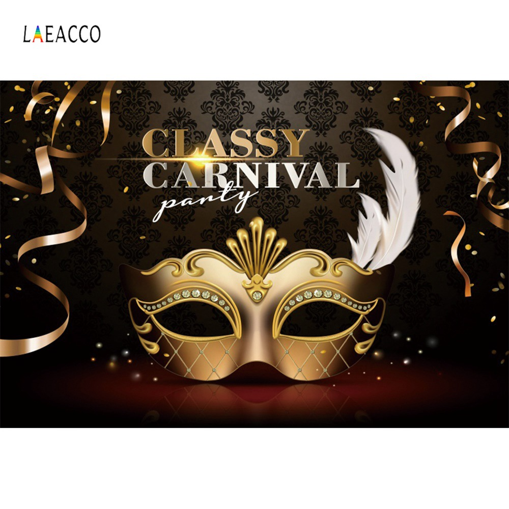 Laeacco Carnival Classify Party Mask Feather Ribbon Poster Portrait Photography Backdrop Photo Background Photocall Studio