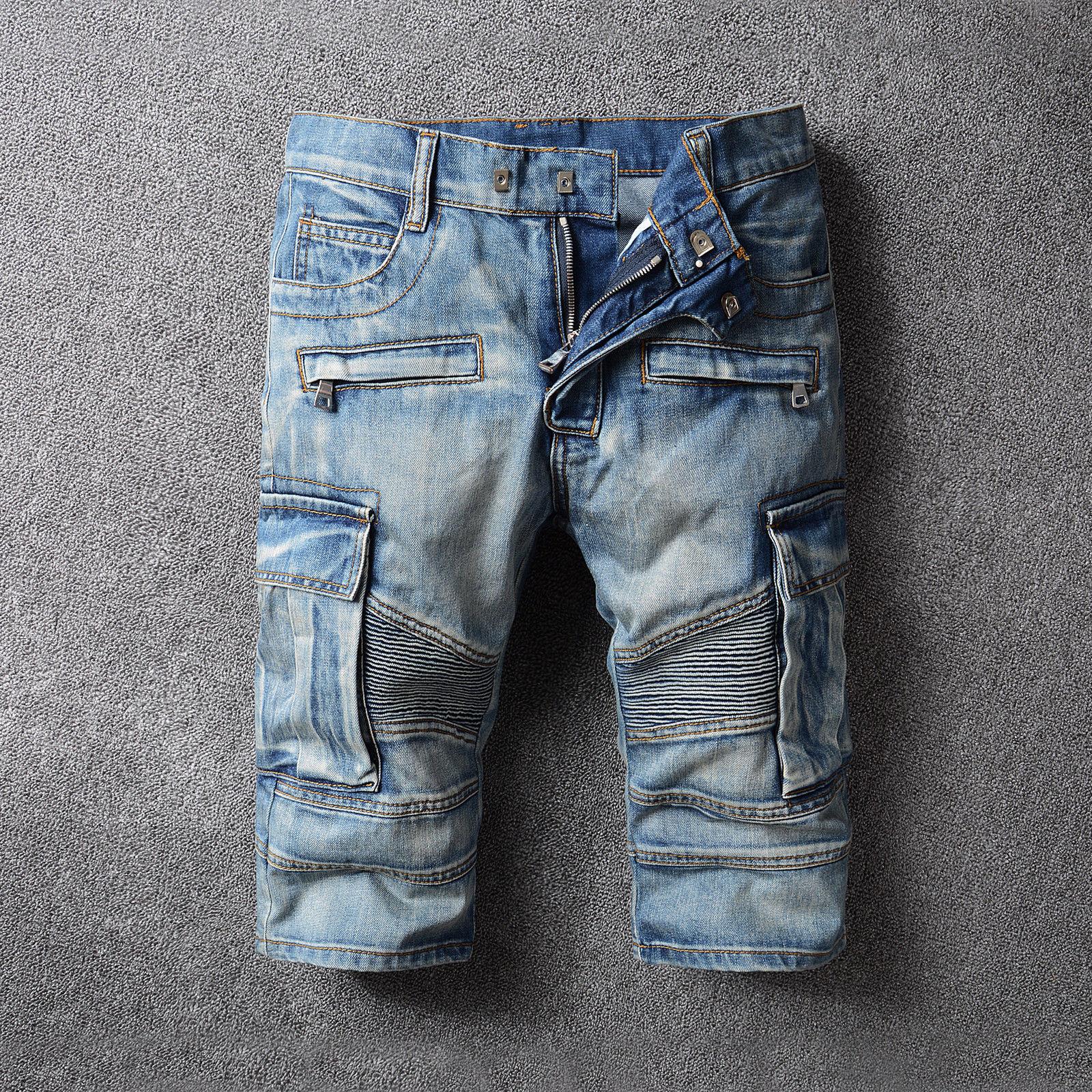 Men Ripped Jean Pants Biker Classic Skinny Slim Short Straight Denim Shorts Button Zipper Pocket Knee