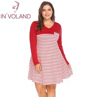 IN VOLAND Women Striped Dress Plus Size XL 5XL Spring Atumn V Neck Large Loose Fit