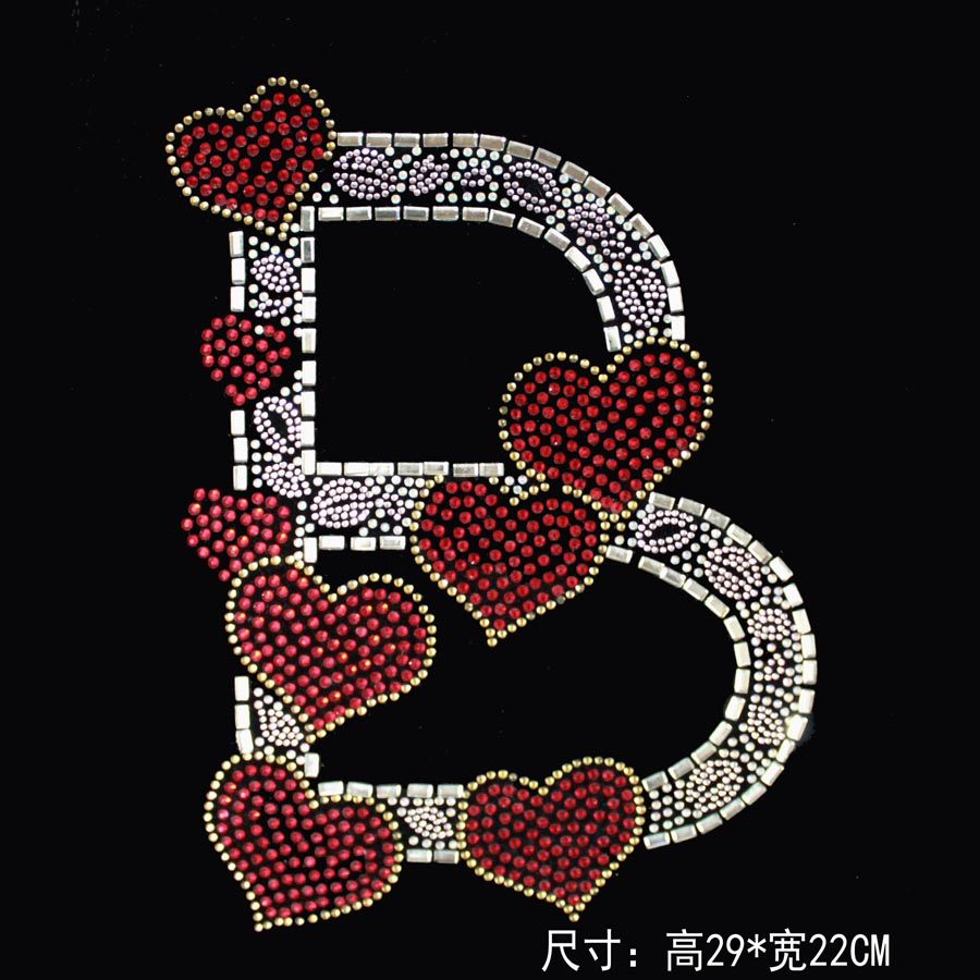 Love B Letter Picture Crystal Rhinestone Stone Hotfix