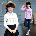 School Girls Blouses Cotton Cartoon Shirts For Girls Fahion Children Clothing Long Sleeve Students Costumes Kids New Tops H009