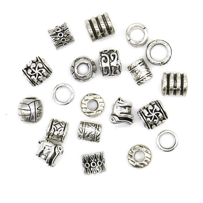 20pc/lot Big Hole Tibetan Silver Beads Metal Zinc Alloy Spacer Beads Silver Plated For Jewelry Making Charm Bracelets DIY