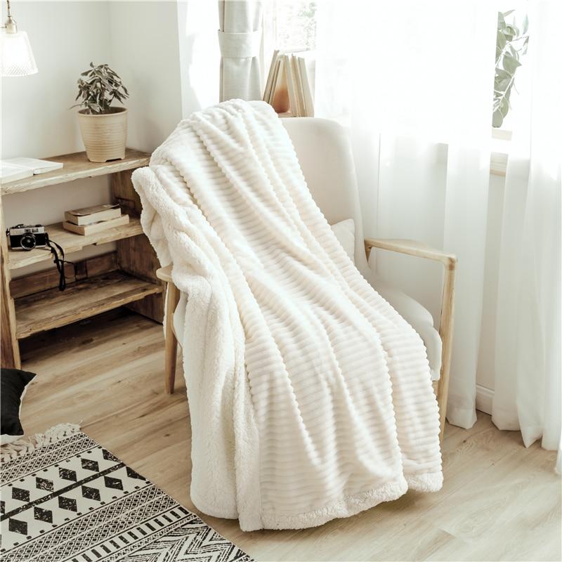 Luxe Streep Reliëf Flanel Fleece Dekens Effen Kleur Super Zachte Sherpa Worp Deken Voor Kinderen Volwassen Warme Winter Bed Sofa - 2