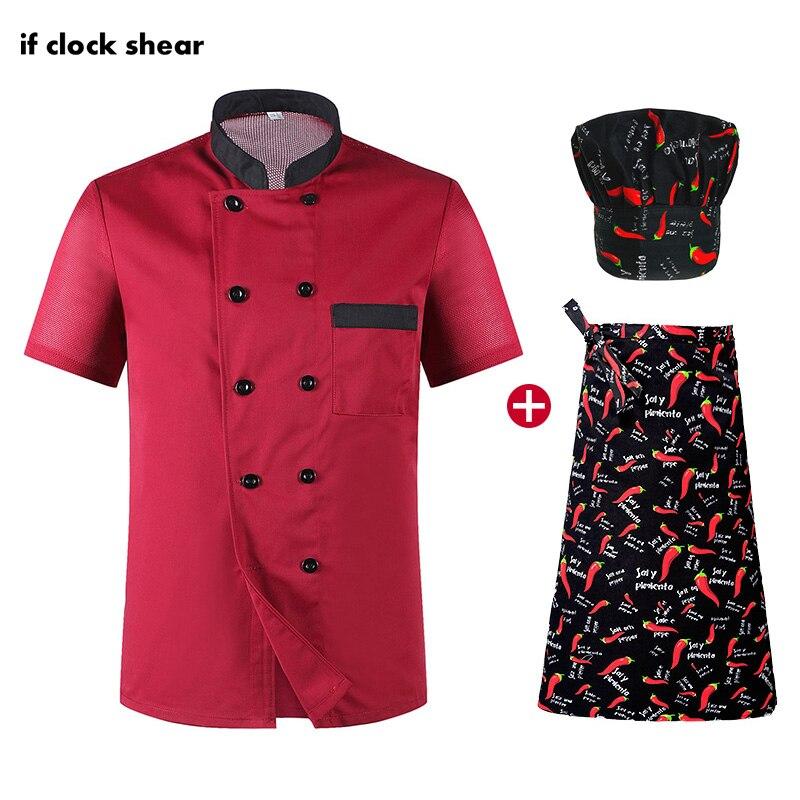 Unisex Short Sleeved Restaurant Chef Uniforms Hotel Kitchen Chef Work Clothes Uniforms Breathable Jacket + Hat + Apron Summer