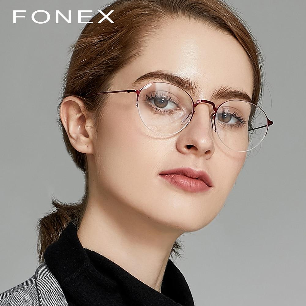e7bd073ff3 Titanium Glasses Frame Ultralight Women Semi-Rimless Prescription  Eyeglasses Myopia Spectacles Men s Half Optical Frames
