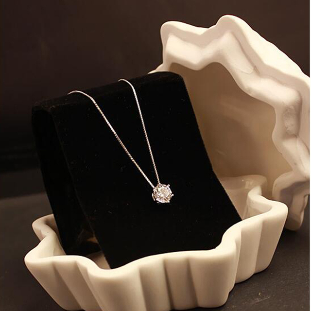 Exquisite rhinestone chain single zircon pendant necklace female fashion  accessories jewelry Valentine s Day gift for wife b52079740d6a
