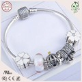 Newest Arrival  Style  925 Real Silver Charm Bracelet With Enamel White Cherry Charm And Bowknot Charm And Flower Murano Charm