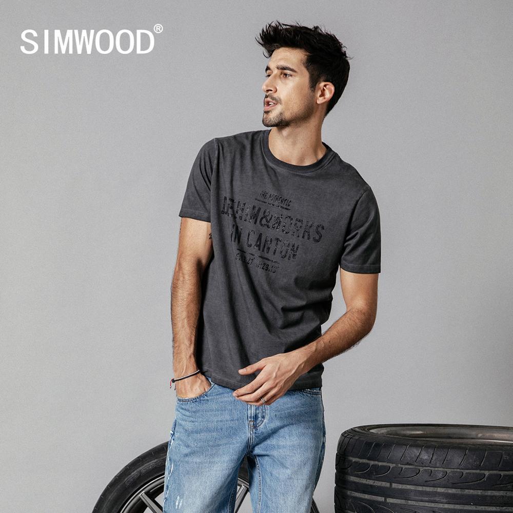 SIMWOOD 2019 summer new   t  -  shirt   men vintage washed letter print hip hop   t     shirt   male streetwear tops plus size clothes 190249