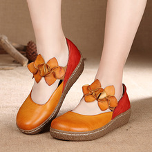 Spring/Autumn  Soft Genuine Leather Handmade Shoes Round Toe Casual Shoe Mary Janes Comfortable Women Shoes