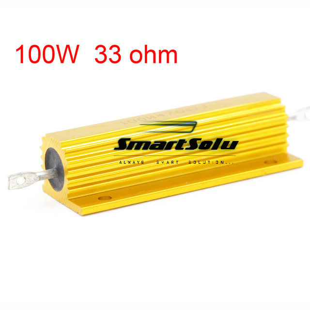 33 ohm 100W Watt Power Metal Shell Case Gold Resistor 100w 300 ohm 5% aluminum screw tabs resistor gold tone