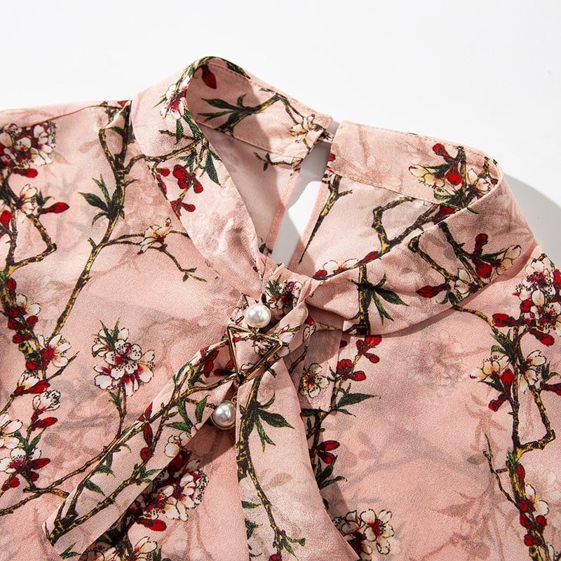 Qualité Key Floral Printemps trou Manches Nouveauté Rose Supérieure Chemisier À Pure Wyg 2019 Perle Soie Imprimé Longues Perles Pink Chemises Retour En xYwnOdSqz