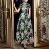 SVORYXIU Runway Designer 2018 Spring Summer Long Dress Women S High Quality Mesh Green Flowers Embroidery