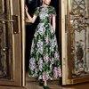 SVORYXIU Runway Designer 2018 Spring Summer Long Dress Women S High Quality Mesh Green Flowers Embroidery