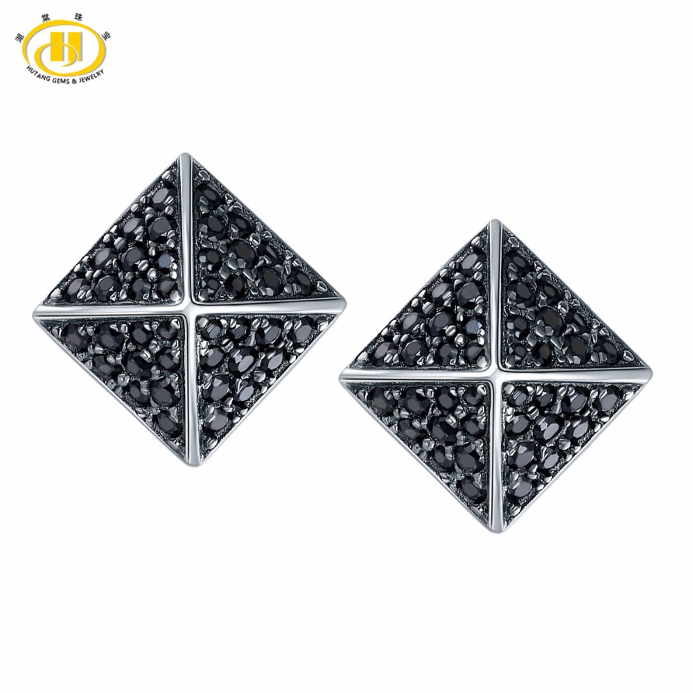 Hutang Genuine Gemstone Black Spinel Solid 925 Sterling Silver Pyramid Stud Earrings Fine Jewelry For Women