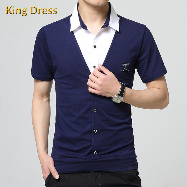 Man Polo-shirt Fashion Shirt Collar Fake Two Pieces Summer Patchwork Slim Solid Anti-wrinkle Men Casual Short Sleeve Polo Shirts