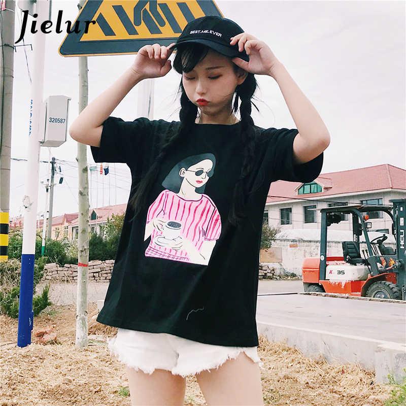 Jielur женская футболка 2019  Модная уличная футболка с короткими рукавами и рисунком для девочек женские милые свободные футболки Harajuku в Корейском стиле