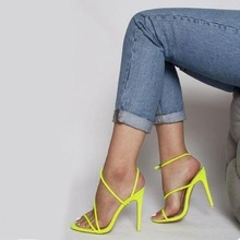 Newest 2019 Neon Pink Strappy Women Sandals Cut-out Peep Toe Crisscross Ankle Strap Gladiator Sandals Women High Heel Shoes high quality women fashion strappy patent leather gladiator sandals cut out ankle strap high heel sandals free shipping