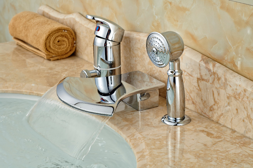 Deck Mounted Bathroom Tub Faucet Waterfall Spout W/ Hand Sprayer ...