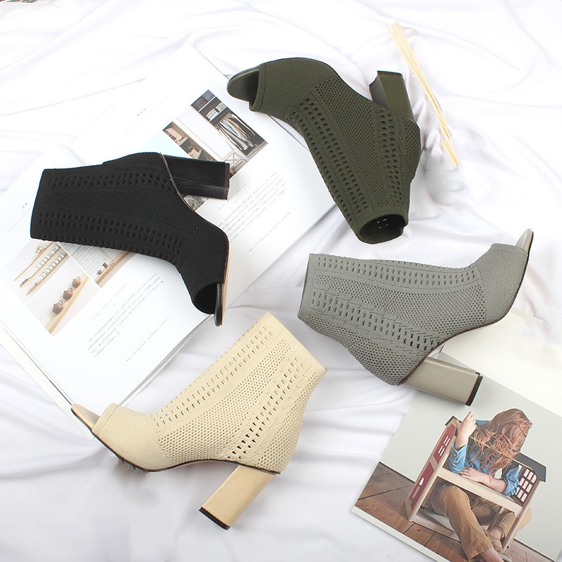 Peep Toe Thick High Heels Boots Women Knitting Rome Slip-on Sock Sexy Shoes Woman Zapatos De Mujer Lady Pumps Chelsea Botas 2018 transparent women boots pointy toe stiletto lady pumps zippers sexy shoes woman brand design short booties rome chelsea boots