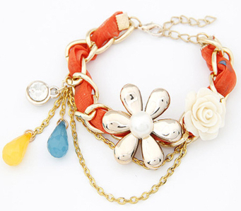 Chain & Link Bracelets New Lovely Jewelry European Noble Flower Cloth Knitted Resin Bracelets Hot Rose Flower Crystal Multi-layer Bracelet Chain Women New Varieties Are Introduced One After Another Bracelets & Bangles