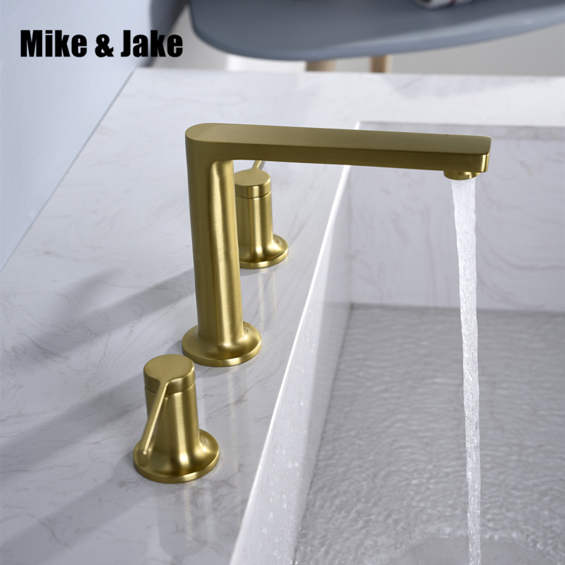 Bathroom basin brass faucet brush gold double handle faucet black Tap luxurry Basin Mixer Hot And