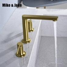 حوض الحمام النحاس صنبور فرشاة الذهب مزدوجة مقبض صنبور أسود الحنفية فاخر حوض خلاط غرفة الاستحمام الساخن والبارد بالوعة صنبور