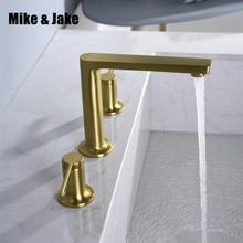 浴室の洗面台真鍮蛇口ブラシゴールドダブルハンドル蛇口黒タップ luxurry 洗面器ミキサー、ホット & コールドシャワールームのシンク蛇口